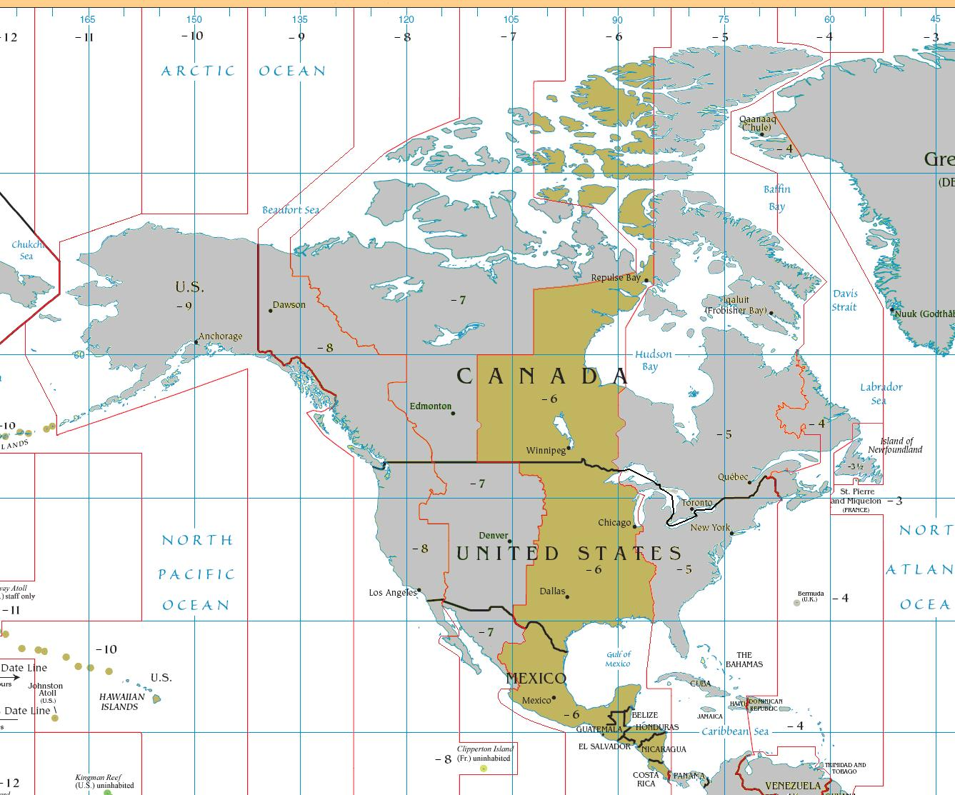 Belize time zone map - Map of Belize time zone (Central ...
