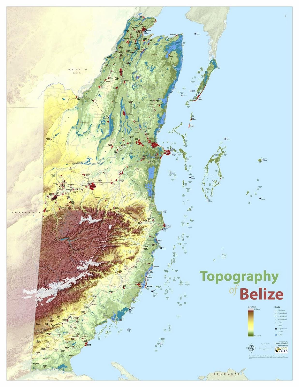 Honduras Topographic Map.Topographic Map Of Belize Map Of Topographic Belize Central