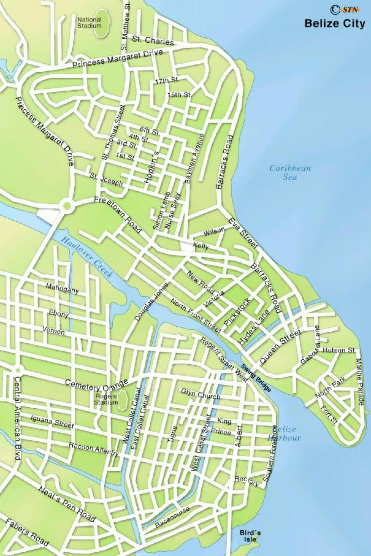 map of Belize city streets