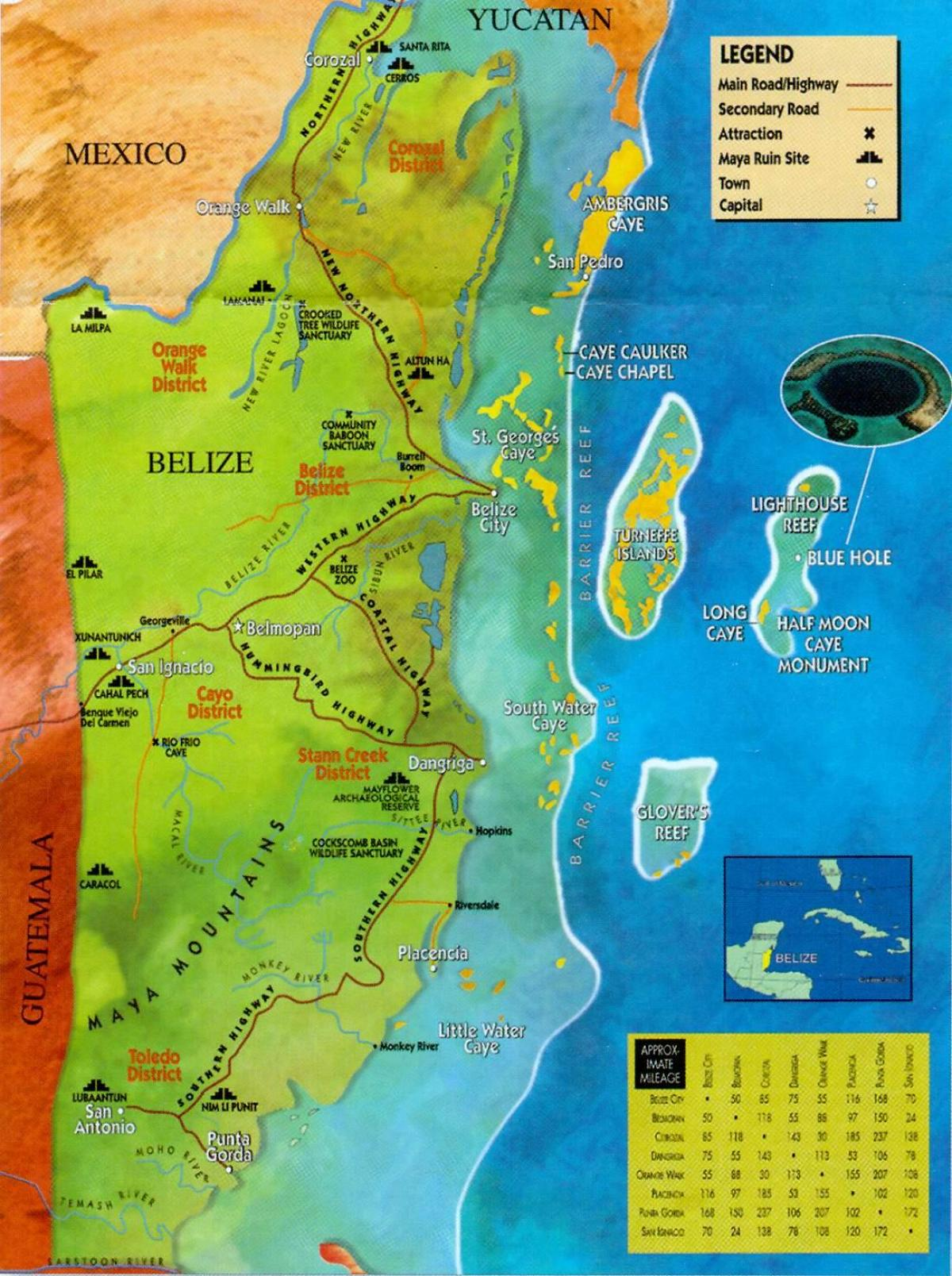 Belize ruins map