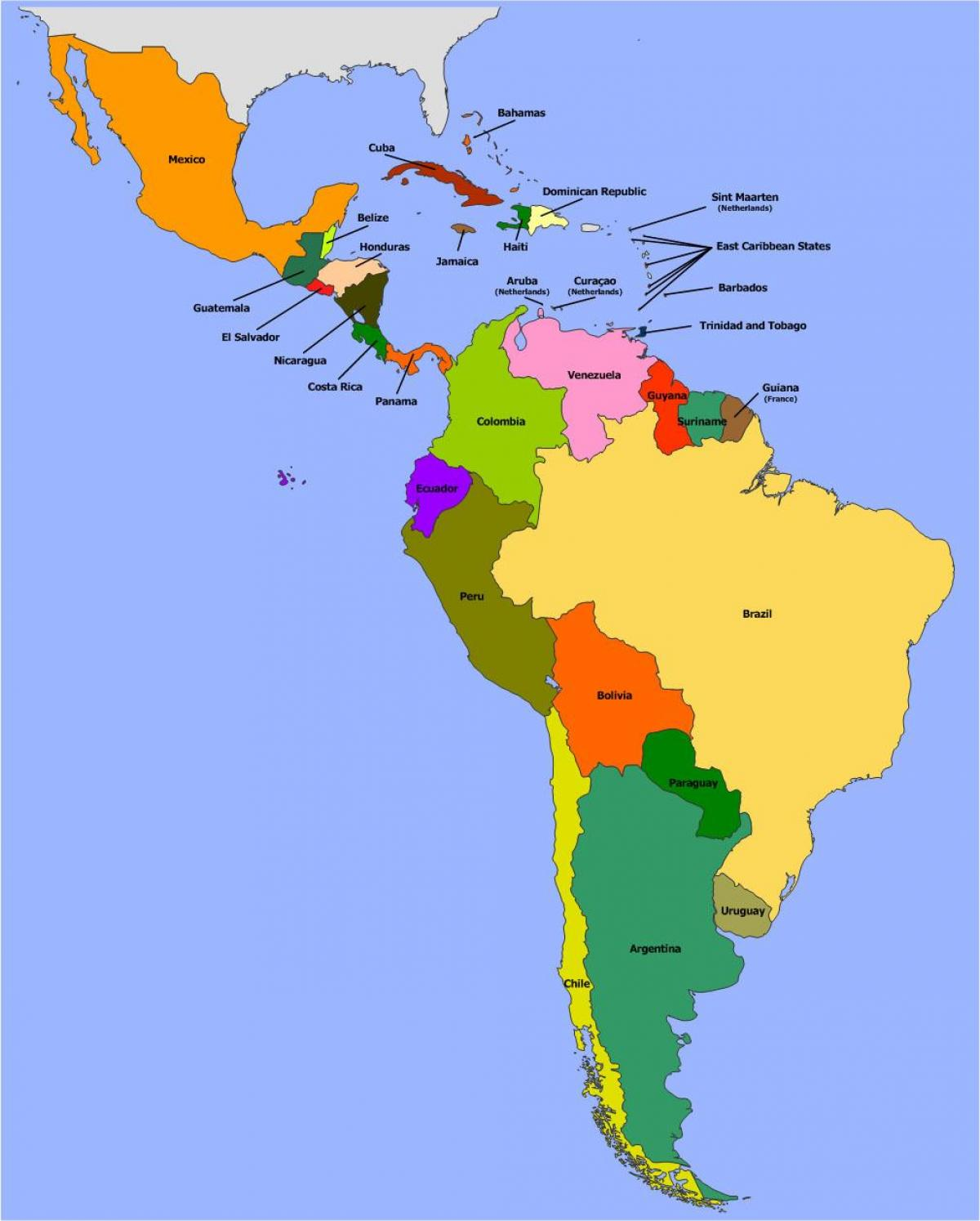 Map of Belize south america
