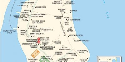 Map of placencia village Belize